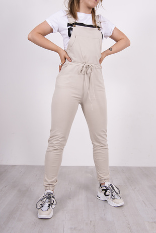Beige Jersey Dungaree Joggers