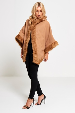 Beige Faux Fur Hooded Cape
