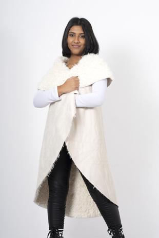 Cream shearling faux suede vest
