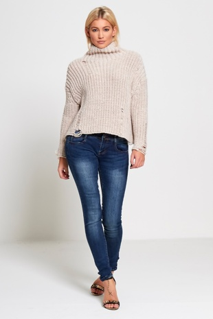 Beige High Neck Frayed Knitted Jumper