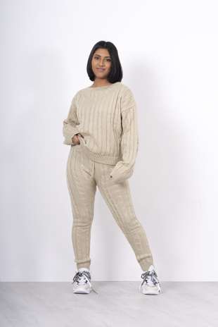 Beige cable knit jumper and legging lounge set