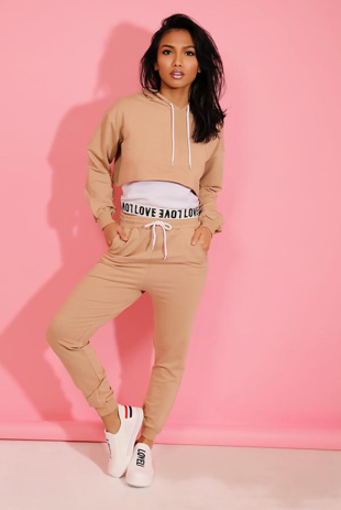 Beige Love Top Crop Hoodie And Joggers 3 Piece Set