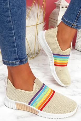 Beige Rainbow Slip On Trainers