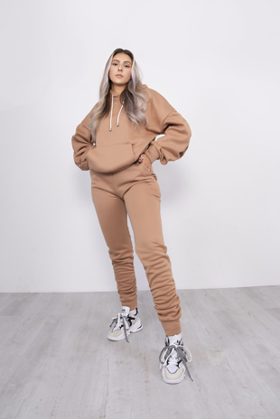 Camel Oversized Ruched Hoodie And Jogger Set