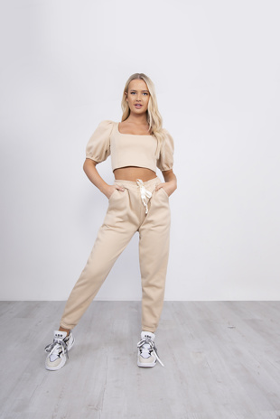 Beige Puff Sleeve Cropped Top And Jogger Set