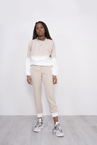 Beige Two Tone Lace Trim Jogger Loungewear Set