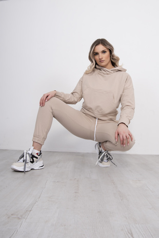 Beige Cropped Hoodie And Jogger Lounge Set