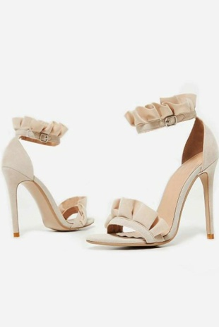 Beige Faux Suede Frill Barely There Heels