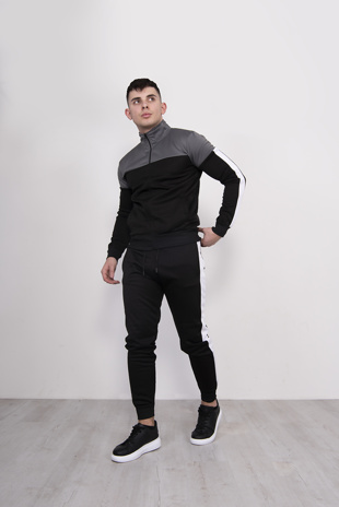 Mens Black And Grey Zip Panel Tracksuit