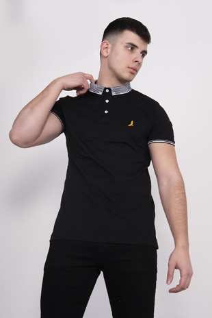 Mens Black Contrast Trim Short Sleve Polo Shirt