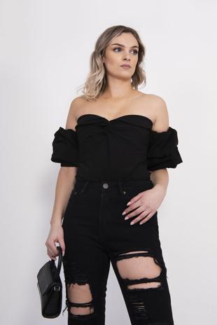 Black Woven Bardot Ruched Bodysuit