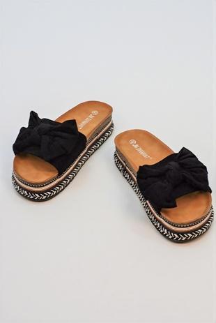 Black Bow Woven Flatform Sandals