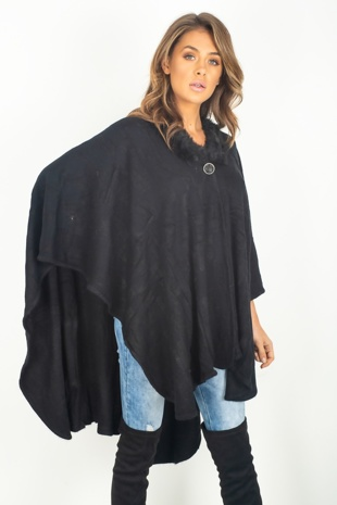 Black Button Detail Fur Hood Cape Coat