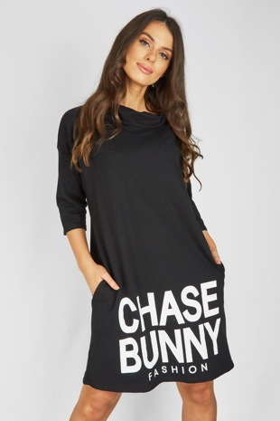 Black Chase Bunny Slogan Oversized Jumper Dress