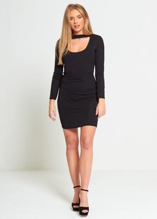 Black Choker Neck Bodycon Dress