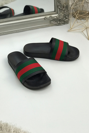 Black Chunky Style Striped Sliders