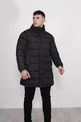 Mens Black Longline Padded Hooded Coat