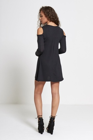 Black Cold Shoulder Long Sleeve Mini Dress