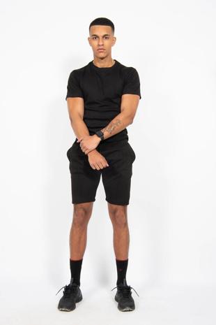 Mens Black Muscle Fit Zip Pocket Shorts Set
