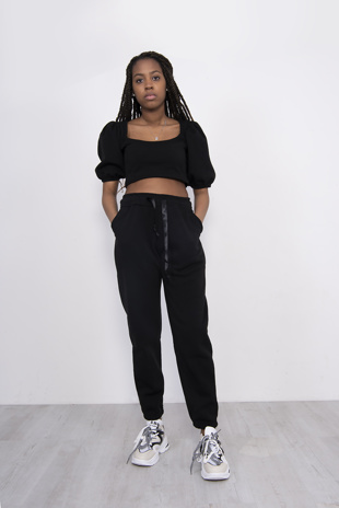 Black Puff Sleeve Cropped Top And Jogger Set