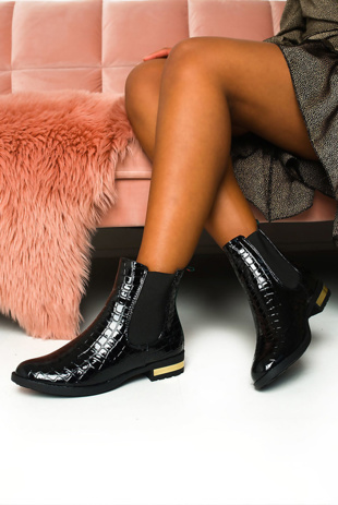 black croc ankle boots with striped back