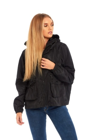 Black Crop Cagoule Jacket