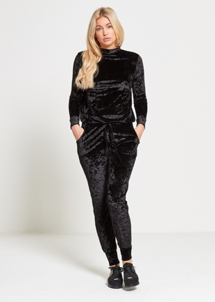 Black Crushed Velvet Lounge Wear Jogger Set