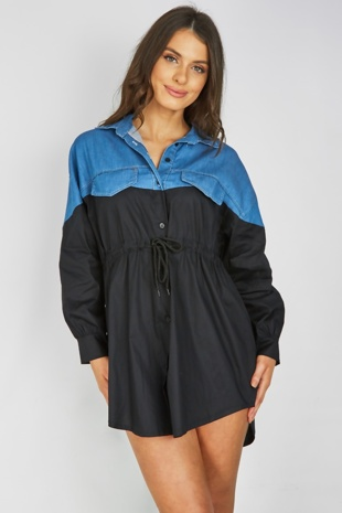 Black Denim Contrast Tie Waist Shirt Dress