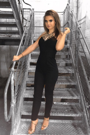 Black Diamante Halterneck Jumpsuit