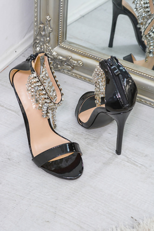 Black Diamante Tassel Cuff Heels