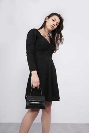 Black Front Wrap Detail Skater Dress
