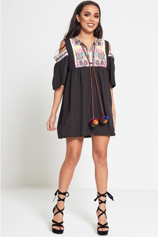 Black Embroidered Cold Shoulder Mini Dress