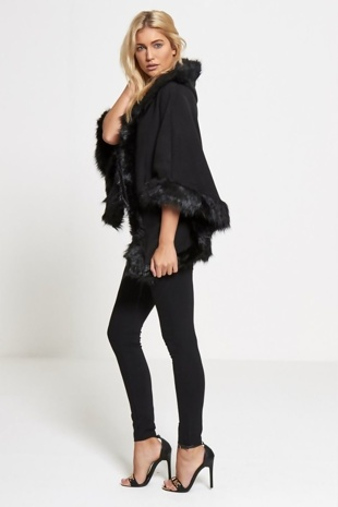 Black Faux Fur Hooded Cape