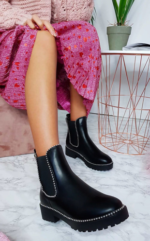 Black Faux Leather Chunky Heel Boots