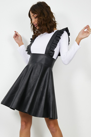 Black Faux Leather Frill Detail Pinafore Dress
