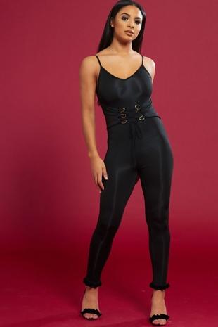 Black Figure Hugging Lace Up Jumpsuit