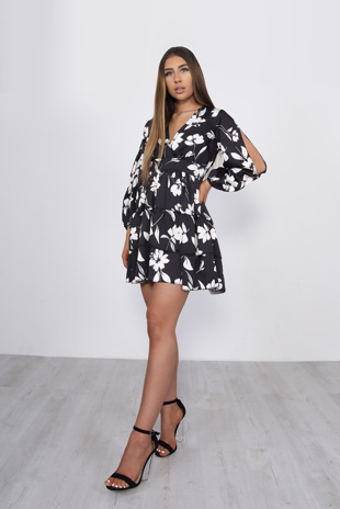 Black Floral Plunge Split Sleeve Tiered Dress