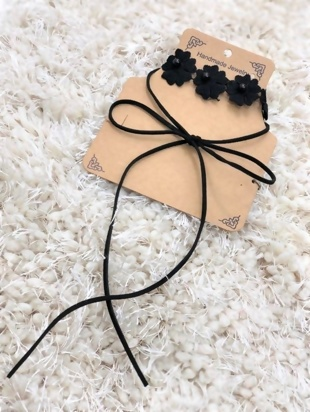 Black Floral Choker Ribbon Tie Double Layer Necklace