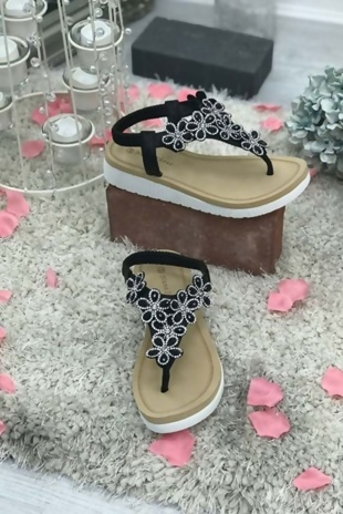 Black Floral Diamante Wedge Sole Sandals