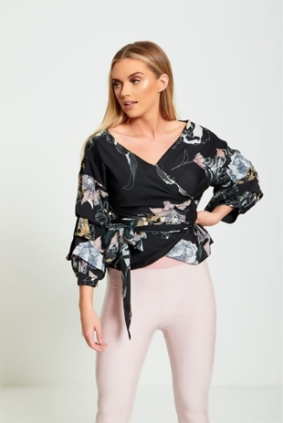 Black Floral Print Wrap Blouse With Ruffle Sleeves
