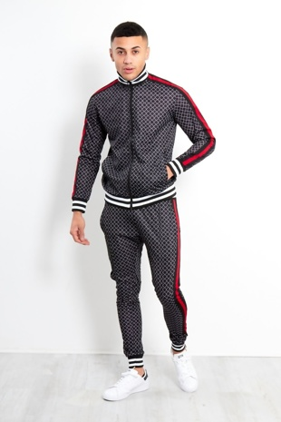 Black Funnel Printed Skinny Fit Tracksuit