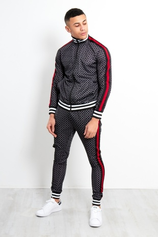 Black Funnel Printed Zip Up Skinny Fit Tracksuit
