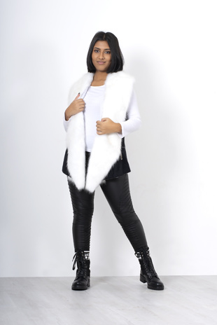 Black faux fur trim shearling vest jacket