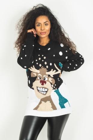 Black Glitter Pom Reindeer Christmas Jumper
