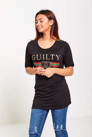 Black Guilty Slogan T-Shirt