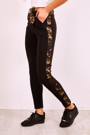 Black High Waist Camo Belted Trousers