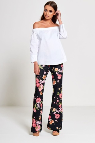 Black High Waist Floral Flared Trouser