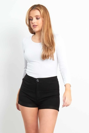 Black High Waist Turn Up Classic Joni Shorts