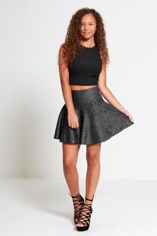 Black High Waisted Glitter Skater Skirt