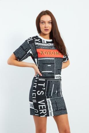 Black Ko Ko Max Text Printed Dress